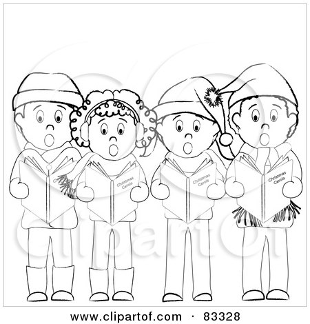 Royalty-Free (RF) Clipart Illustration of a Group Of Black And White Boys And Girls Standing And Christmas Caroling by Pams Clipart