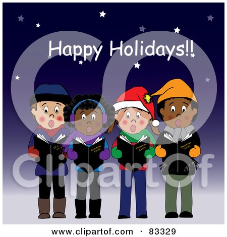 Royalty-Free (RF) Clipart Illustration of a Happy Holidays Greeting Above Boys And Girls Singing Christmas Carols Under The Stars by Pams Clipart