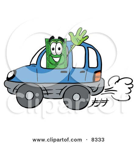 Clipart Picture of a Dollar Bill Mascot Cartoon Character Driving a Blue Car and Waving by Toons4Biz