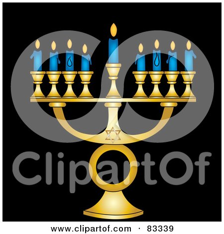 Royalty-Free (RF) Clipart Illustration of a Gold Jewish Menorah With Nine Blue Lit Candles On A Black Background by Pams Clipart
