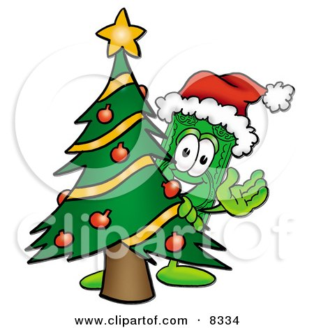 Clipart Picture of a Dollar Bill Mascot Cartoon Character Waving and Standing by a Decorated Christmas Tree by Toons4Biz