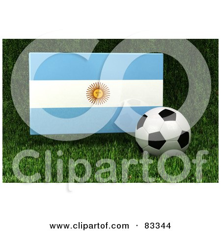 Royalty-Free (RF) Clipart Illustration of a 3d Soccer Ball Resting In The Grass In Front Of A Reflective Argentina Flag by stockillustrations