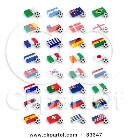 Royalty-Free (RF) Clipart Illustration of a Digital Collage Of 3d Soccer Balls By Flags Of The World Cup 2010 Participating Countries by stockillustrations