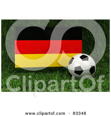 Royalty-Free (RF) Clipart Illustration of a 3d Soccer Ball Resting In The Grass In Front Of A Reflective Germany Flag by stockillustrations