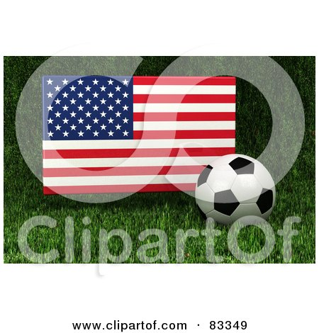 Royalty-Free (RF) Clipart Illustration of a 3d Soccer Ball Resting In The Grass In Front Of A Reflective USA Flag by stockillustrations