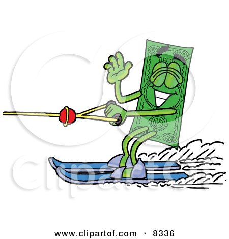 Clipart Picture of a Dollar Bill Mascot Cartoon Character Waving While Water Skiing by Toons4Biz