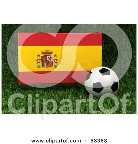 Royalty-Free (RF) Clipart Illustration of a 3d Soccer Ball Resting In The Grass In Front Of A Reflective Spain Flag by stockillustrations