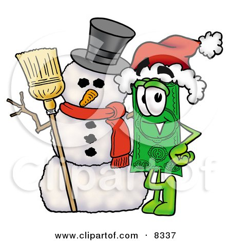 Clipart Picture of a Dollar Bill Mascot Cartoon Character With a Snowman on Christmas by Toons4Biz