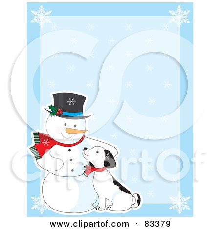 Royalty-Free (RF) Clipart Illustration of a Blue Background With Snowflakes And A Snowman Petting A Puppy by Maria Bell