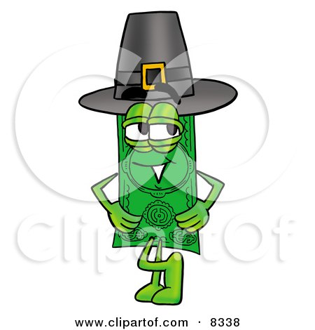 Clipart Picture of a Dollar Bill Mascot Cartoon Character Wearing a Pilgrim Hat on Thanksgiving by Toons4Biz