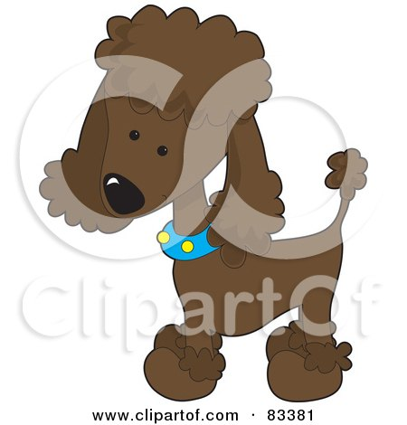 Royalty-Free (RF) Clipart Illustration of a Cute Chocolate Poodle Puppy Dog Wearing A Blue Collar With Yellow Spots And Sporting A Puppy Clip by Maria Bell