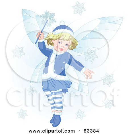Royalty-Free (RF) Clipart Illustration of an Adorable Blond Christmas Fairy Making Snowflakes Fall by Pushkin