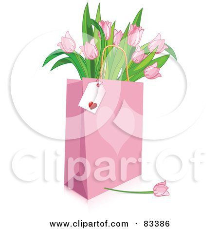 Blank Tag On A Pink Heart Shopping Bag Full Of Pink Tulips Posters, Art Prints