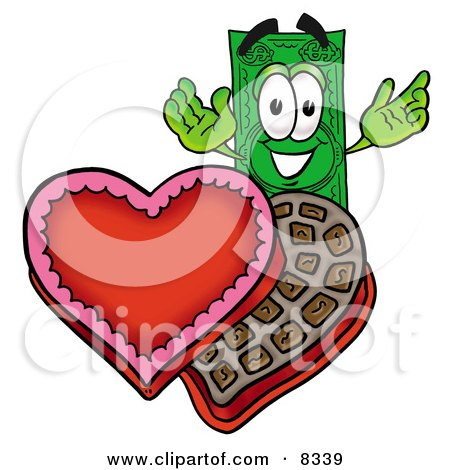 Clipart Picture of a Dollar Bill Mascot Cartoon Character With an Open Box of Valentines Day Chocolate Candies by Toons4Biz