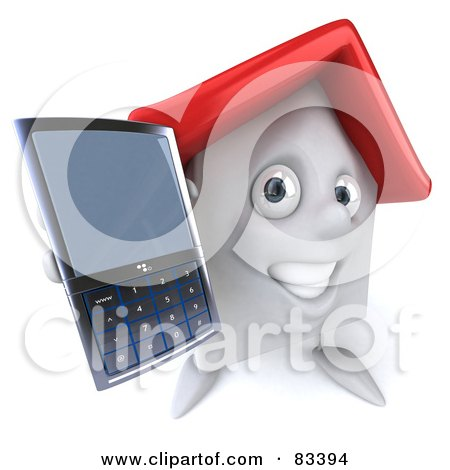 Royalty-Free (RF) Clipart Illustration of a 3d White Clay Home Character Holding Out A Cell Phone by Julos
