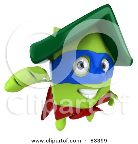 Royalty-Free (RF) Clipart Illustration of a 3d Green Clay Home Character Super Hero Flying Forward by Julos