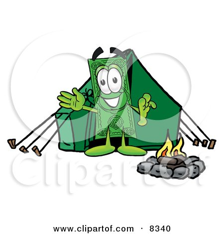 Clipart Picture of a Dollar Bill Mascot Cartoon Character Camping With a Tent and Fire by Toons4Biz