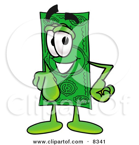 Clipart Picture of a Dollar Bill Mascot Cartoon Character Pointing at the Viewer by Toons4Biz