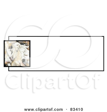 Royalty-Free (RF) Clipart Illustration of a Website Banner Of An Artistic Palomino Horse Head Over A White Text Box by C Charley-Franzwa