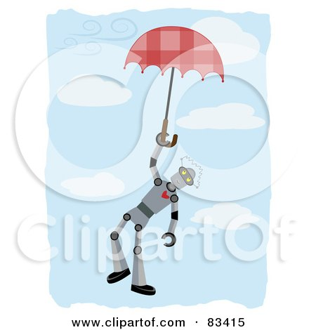 Royalty-Free (RF) Clipart Illustration of a Robot Floating Down And Holding Onto An Umbrella In A Blue Cloudy Sky by mheld