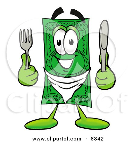 Clipart Picture of a Dollar Bill Mascot Cartoon Character Holding a Knife and Fork by Toons4Biz