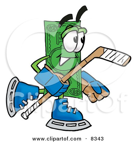Clipart Picture of a Dollar Bill Mascot Cartoon Character Playing Ice Hockey by Toons4Biz