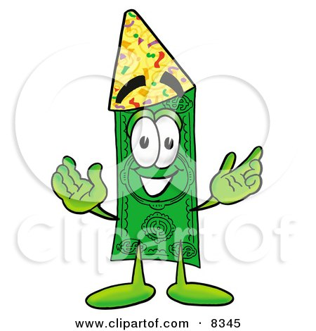Clipart Picture of a Dollar Bill Mascot Cartoon Character Wearing a Birthday Party Hat by Toons4Biz