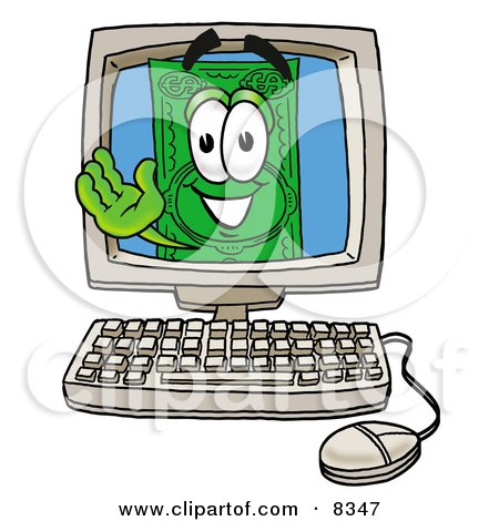 Clipart Picture of a Dollar Bill Mascot Cartoon Character Waving From Inside a Computer Screen by Toons4Biz