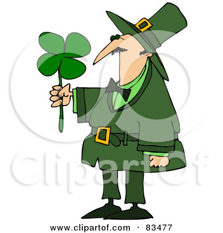 Royalty-Free (RF) Clipart Illustration of a Leprechaun Guy Admiring A Four Leaf Clover by djart