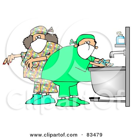 Royalty-Free (RF) Clipart Illustration of Male And Female Surgeons Washing Their Hands And Preparing For A Procedure by djart