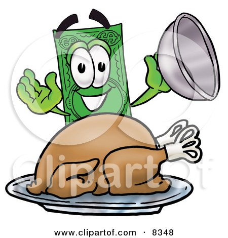 Clipart Picture of a Dollar Bill Mascot Cartoon Character Serving a Thanksgiving Turkey on a Platter by Toons4Biz