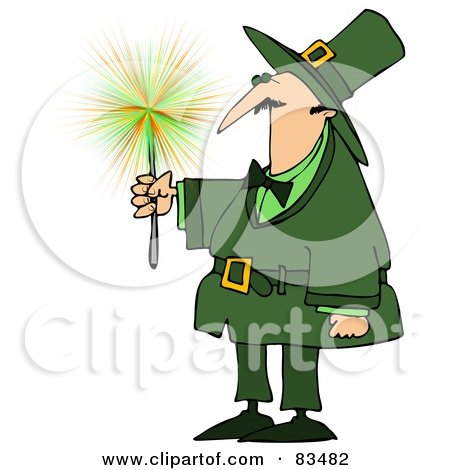 Royalty-Free (RF) Clipart Illustration of a Leprechaun Guy Holding A Sparkler by Dennis Cox