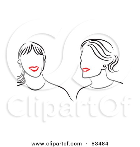 Royalty-Free (RF) Clipart Illustration of a Line Drawing Of Red Lipped Female Friends Smiling by Prawny