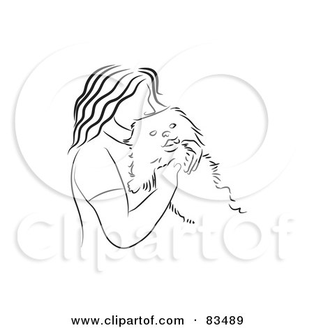 Royalty-Free (RF) Clipart Illustration of a Black And White Line Drawn Woman Cuddling With Her Dog by Prawny