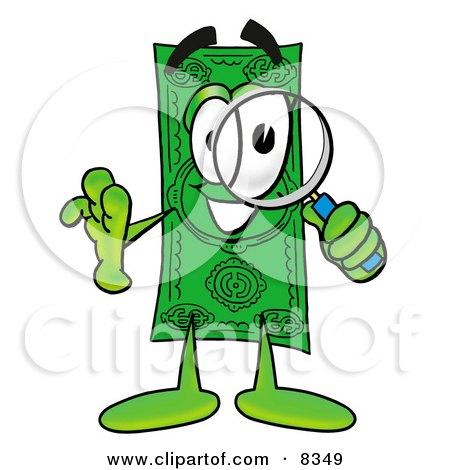 Clipart Picture of a Dollar Bill Mascot Cartoon Character Looking Through a Magnifying Glass by Toons4Biz