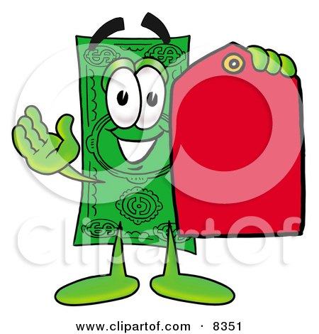 Clipart Picture of a Dollar Bill Mascot Cartoon Character Holding a Red Sales Price Tag by Toons4Biz