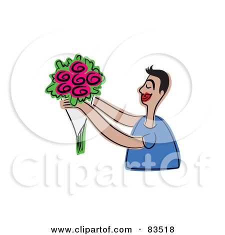 Royalty-Free (RF) Clipart Illustration of a Sweet Man Holding Out Pink Flowers by Prawny