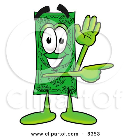 Clipart Picture of a Dollar Bill Mascot Cartoon Character Waving and Pointing by Toons4Biz