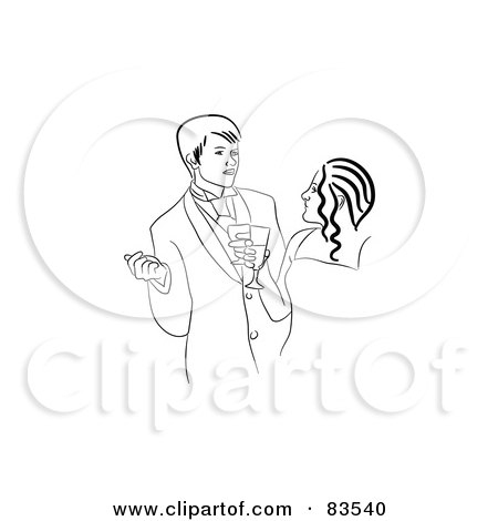 Royalty-Free (RF) Clipart Illustration of a Black And White Line Drawn Prom Couple Talking by Prawny