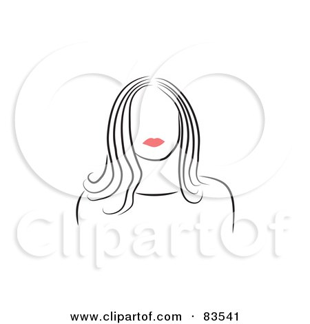 Royalty-Free (RF) Clipart Illustration of a Line Drawing Of A Red Lipped Woman's Face - Version 7 by Prawny
