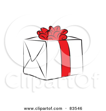 Royalty-Free (RF) Clipart Illustration of a Line Drawn Present With A Red Bow And Ribbon by Prawny