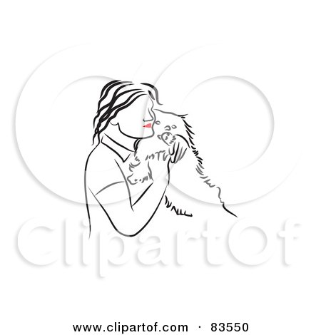 83550-Royalty-Free-RF-Clipart-Illustration-Of-A-Line-Drawing-Of-A-Red-Lipped-Woman-Hugging-Her-Dog.jpg