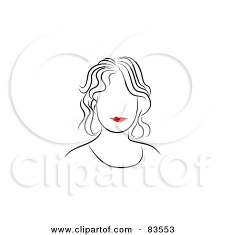 Royalty-Free (RF) Clipart Illustration of a Line Drawing Of A Red Lipped Woman's Face - Version 3 by Prawny