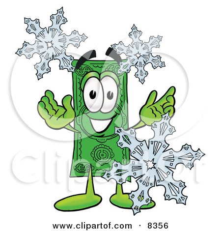 Clipart Picture of a Dollar Bill Mascot Cartoon Character With Three Snowflakes in Winter by Toons4Biz