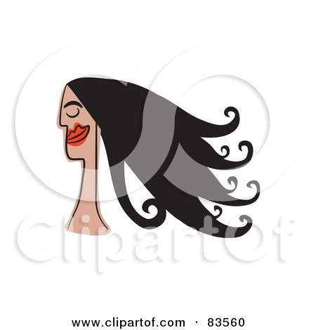 Royalty-Free (RF) Clip Art Illustration of a Smiling Woman With Long Black Hair by Prawny