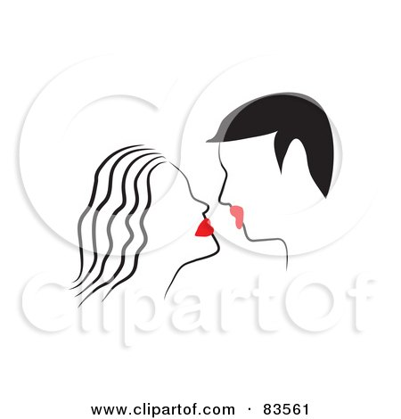 Royalty-Free (RF) Clipart Illustration of a Line Drawn Couple With Red Lips, About To Kiss by Prawny