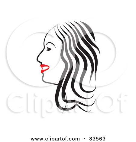 Royalty-Free (RF) Clipart Illustration of a Line Drawing Of A Red Lipped Woman In Profile - Version 2 by Prawny