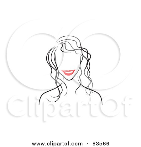 Royalty-Free (RF) Clipart Illustration of a Line Drawing Of A Red Lipped Woman's Face - Version 2 by Prawny