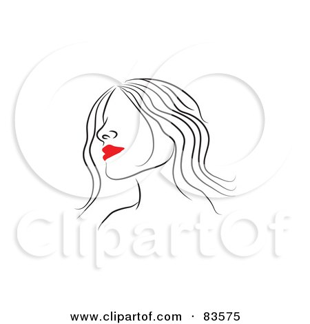 Woman Face Line Drawing
