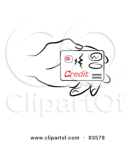 Royalty-Free (RF) Clipart Illustration of a Line Drawn Hand Holding A Credit Card by Prawny